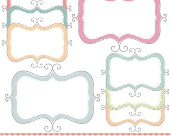 Swirly style frames,  printable digital clipart set.
