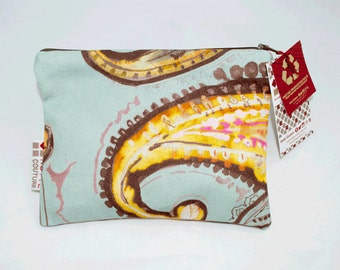 Pouch for makeup, pencil case, toiletries, accessoiries, baby and/or all-purpose with zipper, Fabric Eclosion Turquoise Orange