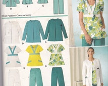 Simplicity 3542  Vintage Pattern Womens Scrubs - Scrub Tops in Variations and Scrub Pants in Variations Size 20,22,24,26,28 UNCUT