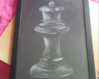 Original, hand-drawn in charcoal- Charcoal Chess Piece