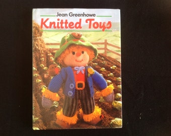Vintage knitted toys book by Jean Greenhowe toy knitting patterns hardcover book 1980s dolls, dwarfs, Christmas, humpty  ghost witch