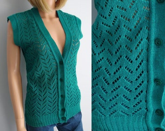 Green sweater vest, french vintage, wool knit top, sleeveless cardigan pullover, knitted waistcoat, small