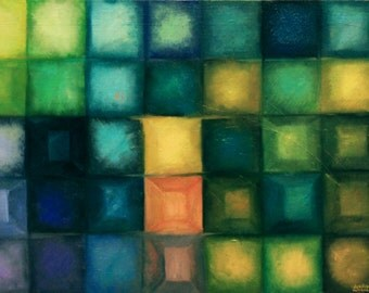 oil #painting #Bricks #картина маслом #Кубики #абстракция #abstraction