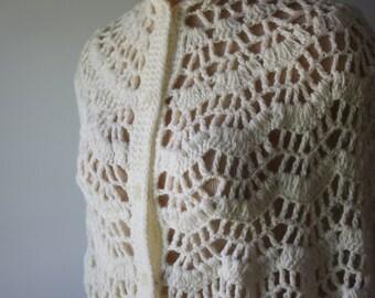 White Crochet Vintage Shawl