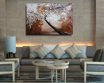 Large Canvas Art Brown White Tree Painting Abstract Painting Textured Painting Large Art Original Living Room Painting Wall Art Christovart
