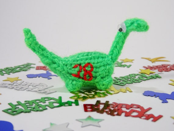 Mini Dinosaur Knitting Pattern : Birthday Miniature Dinosaur Knitted Green 18th 21st