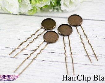 U Style Blank Bobby Tray - Hairclip Blanks With Round Pads - 10-20mm round Bezel Hair Pin Blanks