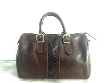 Lisette Chocolate Brown Leather Snakeskin Speedy Doctors Bag Purse