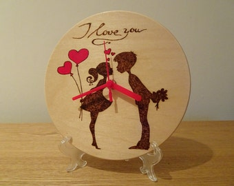 I love you hand engraved/painted wooden clock