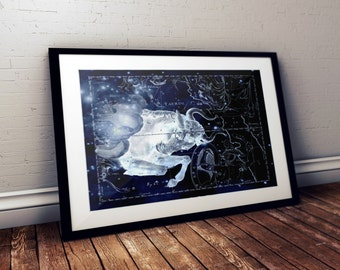 Taurus Constellation, Astrology, Astronomy, Science, Space Print