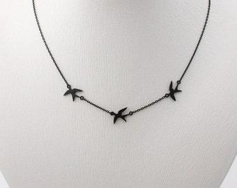 Matt opaque black plated tiny 3 Swallow necklace, black swallows bird necklace