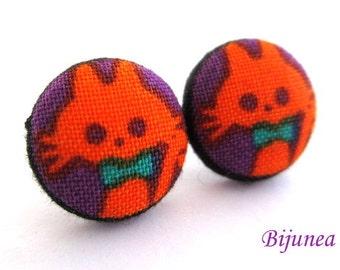 Cat earrings - Orange cat stud earrings - Black cat studs - Cat posts -  Halloween earrings - Cat post earrings sf1065