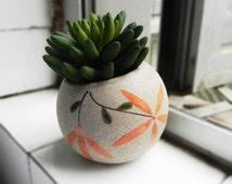 Zakka planter - rustic pottery planter indoor gardening - unique handmade gift for house decor - oriental planter succulent flowers herbs