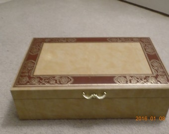 Vintage Two Tier Faux Leather Jewelry Box, Mele