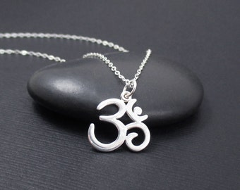 Om Symbol Necklace Sterling Silver Om Necklace, Ohm Necklace, Ohm Jewelry, Yoga Gift, Yoga Jewelry
