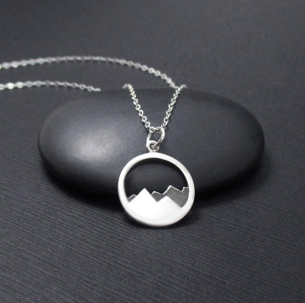 Mountain Necklace Sterling Silver Mountain Range Pendant