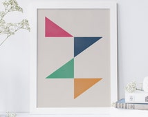 Minimalist Art Print, Simple Geometric Art, Mid Century Poster, Modern Wall Art, Ikea Ribba Frame, Nordic Style, Abstract Poster, Retro Art