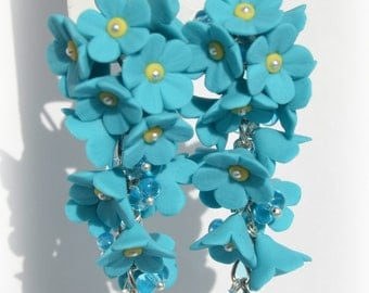 Earrings-clusters of Forget-me-nots