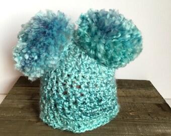 Ready to ship, Crochet double pom pom hat ,newborn pom pom hat, big pom pom hat, baby double pom pom hat, baby pom pom hat, pom pom hat