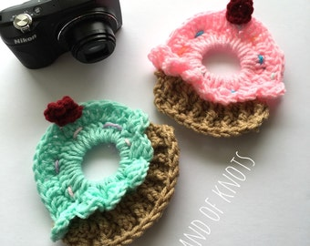 Cupcake camera lens buddy, crochet camera buddy, cupcake camera buddy, camera accessories, photography props, photo props.