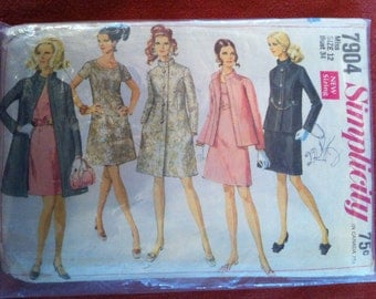 1968 Simplicity 7904 Pattern Dress, jacket and coat 1968