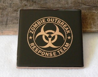 Zombie Outbreak Response Team Engraved Ceramic Coaster