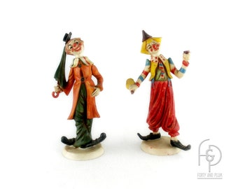 Italian Clown Figurines Handpainted Highly Detailed Composition Material a Pair