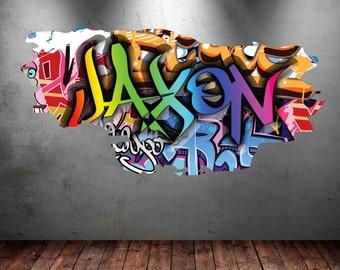 Delightful Personalised Name Graffiti Wall Art Decals Full Colour Wall Art Sticker  Transfer Print Girls Boys Bedroom