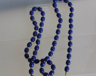Beaded Necklace,  Good Clasp, Fashion Accessories, Vintage, Handmade, The 1980s, Gift, Cobalt Blue Beads, w Gold Inbetween,Very Dressy, Long
