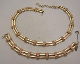 Signed Monet Vintage Gold Tone Bamboo Look Demi Necklace, Bracelet Set