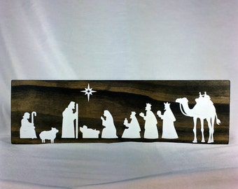 3.5X11.0 wood  nativity scene - wood plaque, Christmas, nativity