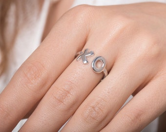 XO ring, Silver ring, Hugs and Kisses, Gift For Her, Sterling Silver