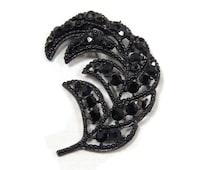 Vintage Weiss Black Rhinestone Curled Leaf Brooch, Feather Pin