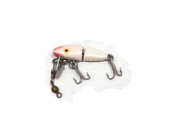 Rocky JR Minnow Redhead Fishing Lure, Vintage Red & White Fishing Lure