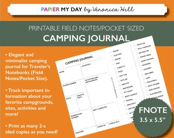 Printable Camping Journal - Campground Journal for Field Notes and Pocket Size Travelers Notebooks
