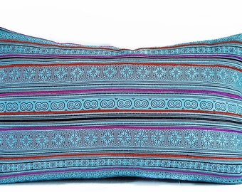 Turquoise Thai pillow cover - Blue pillow - Thai pillow - Tribal pillow - Hmong Pillow - Bright blue pillow - Boho pillow - Ethnic pillow