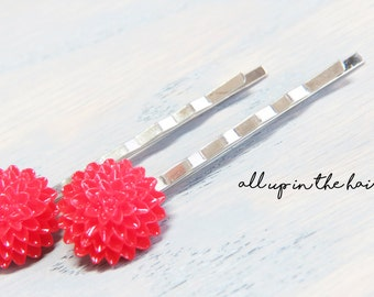 Red Mum Flower Bobby Pins - Red Flower Hair Clips