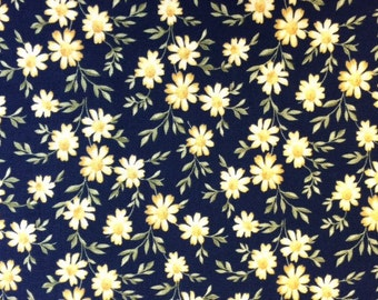 Windham Fabrics CAROLYN (DAISIES-Navy) Premium Quality 100% Cotton Fabric - per 1/2 yd