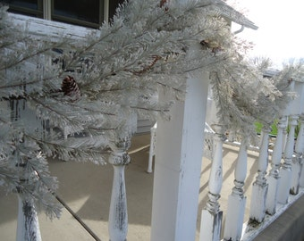 6' Snow Covered Pine Garland Iced Evergreen Christmas Decorating Outdoor Garland  Evergreen Home Decor DIY   #418