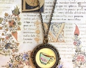 Hand Painted Yellow Floral Tea Cup Pendant