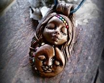 Celestial Chakra Goddess clay talisman by Handmade Mystic FREE SHIPPING