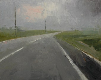 Roadway. 11X14 Original landscape oil painting, Roadway paintings, Highways, Back roads, Country roads, Fine art.