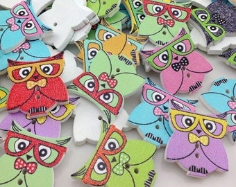 New 100pc Owl With Glass Button DIY Scrapbooking Appliques Craft 21*24mm WB307