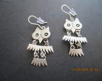 Owl Earrings..Sterling Silver..Great Detail..New ..Taxco