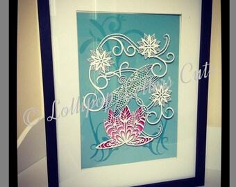Paisley Dragonfly Fine Art Paper Cut Print