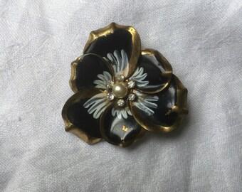 Antique Tole Ware Brooch