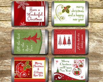 Mini Candy Bar Wrappers - Christmas Candy Wrappers, Christmas Wraps, Hershey Mini, Holiday Candy Wrappers, Teacher's Gift, Stocking Stuffers