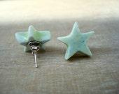 Stars earrings, ceramic earrings, yellow stars earrings, rock earrings, star jewelry, porcelain earrings, silver earrings, gifts earrings