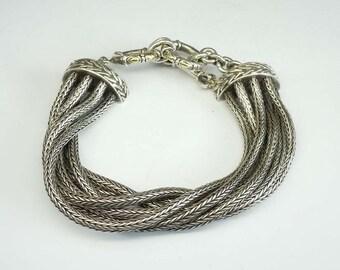 Vintage Sterling Silver 18Kt Gold Multi-Strand Toggle Bracelet