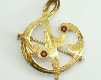 Antique Victorian 18kt Gold Garnet Ampersand Engraved Brooch Pin marked 750